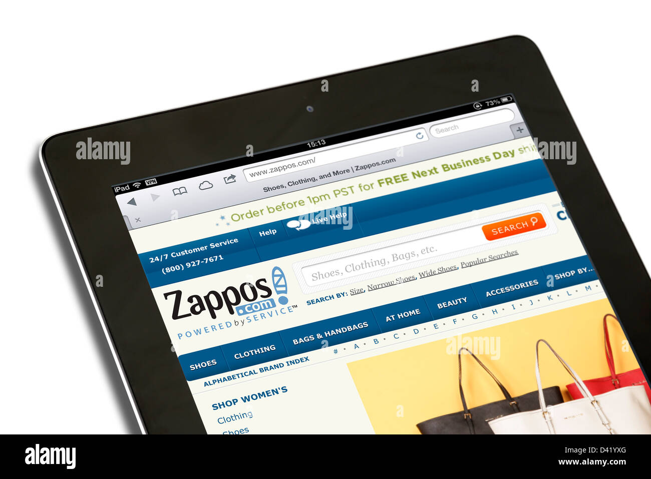 Online shoe and apparel website, Zappos.com (an Amazon company), viewed on an iPad 4, USA - Stock Image