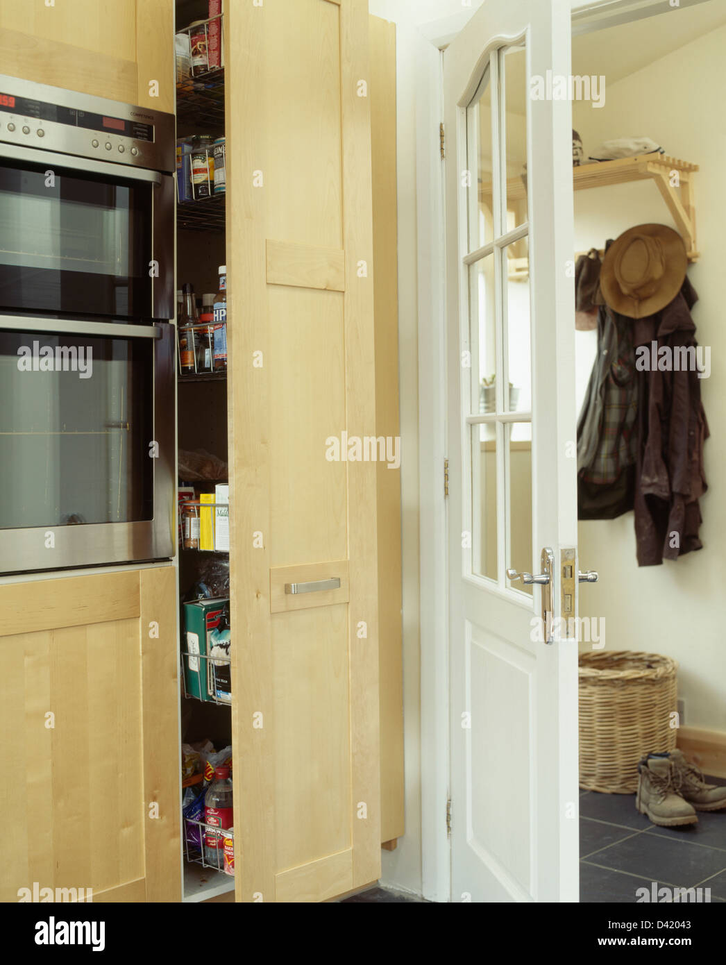 Pull Out Storage Unit In Modern Kitchen With Door Open To ...