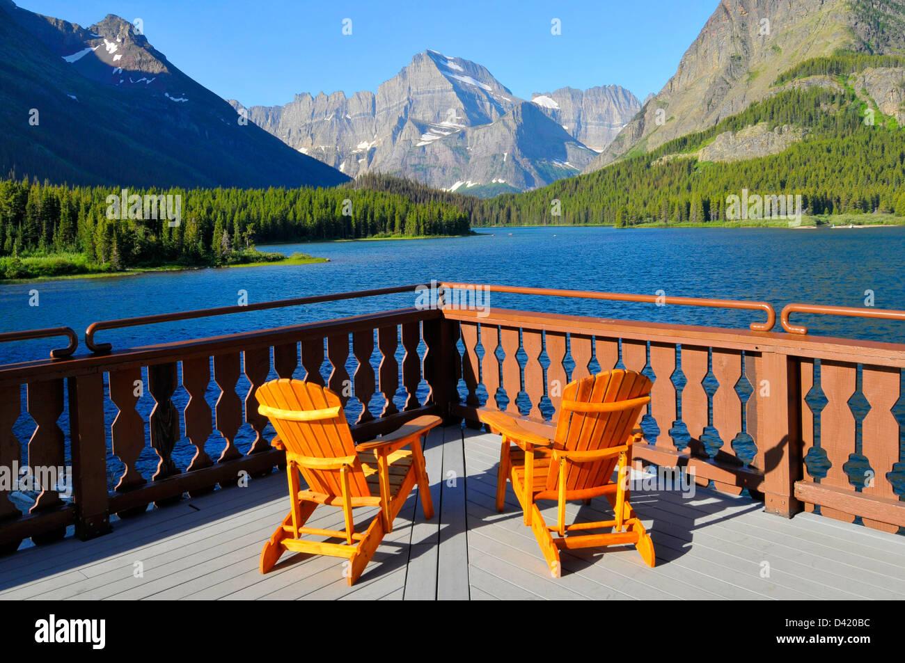 Many Glacier Hotel Glacier National Park Montana MT US Stock Photo