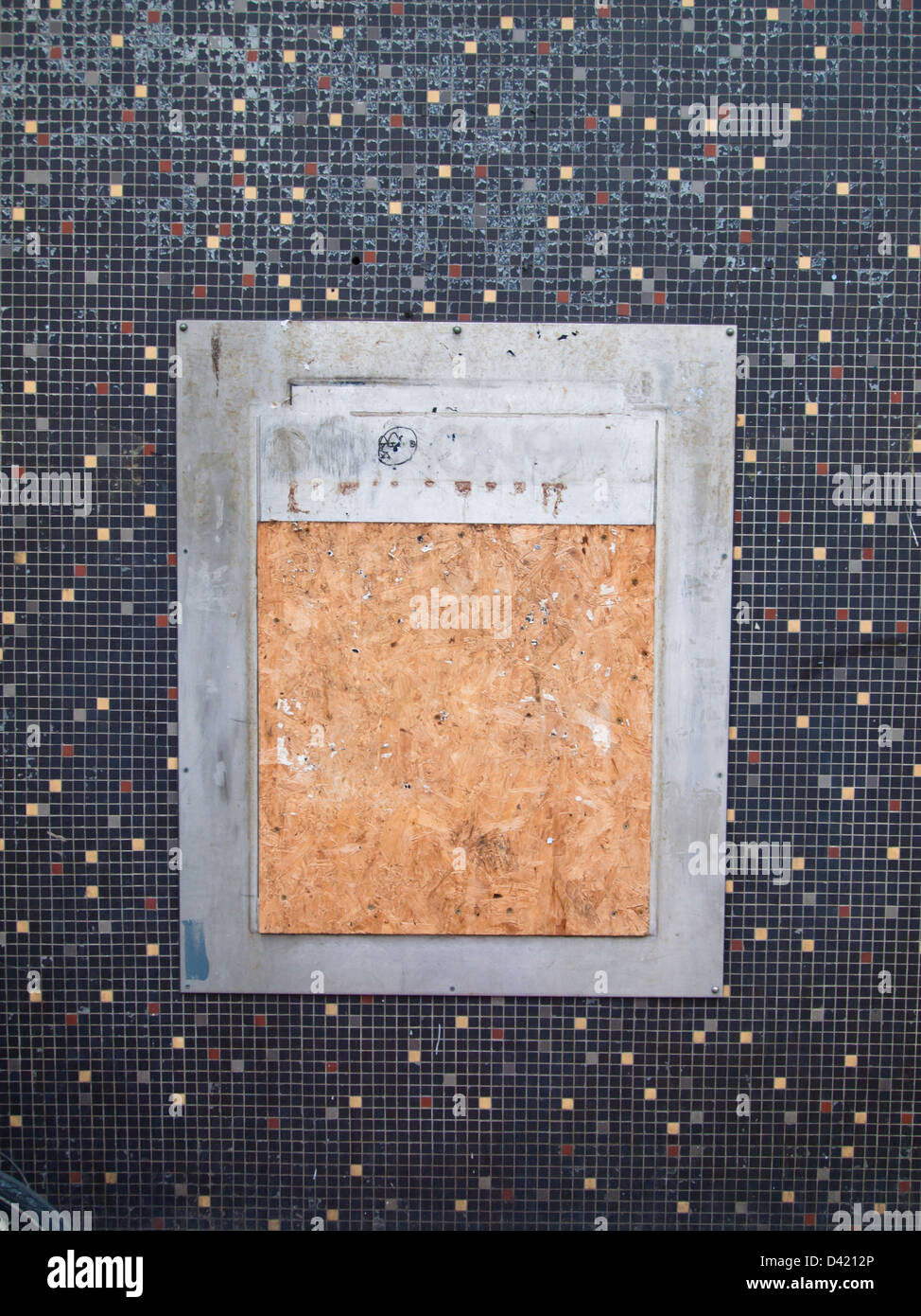 A boarded up ATM slot in Bristol City Center. - Stock Image