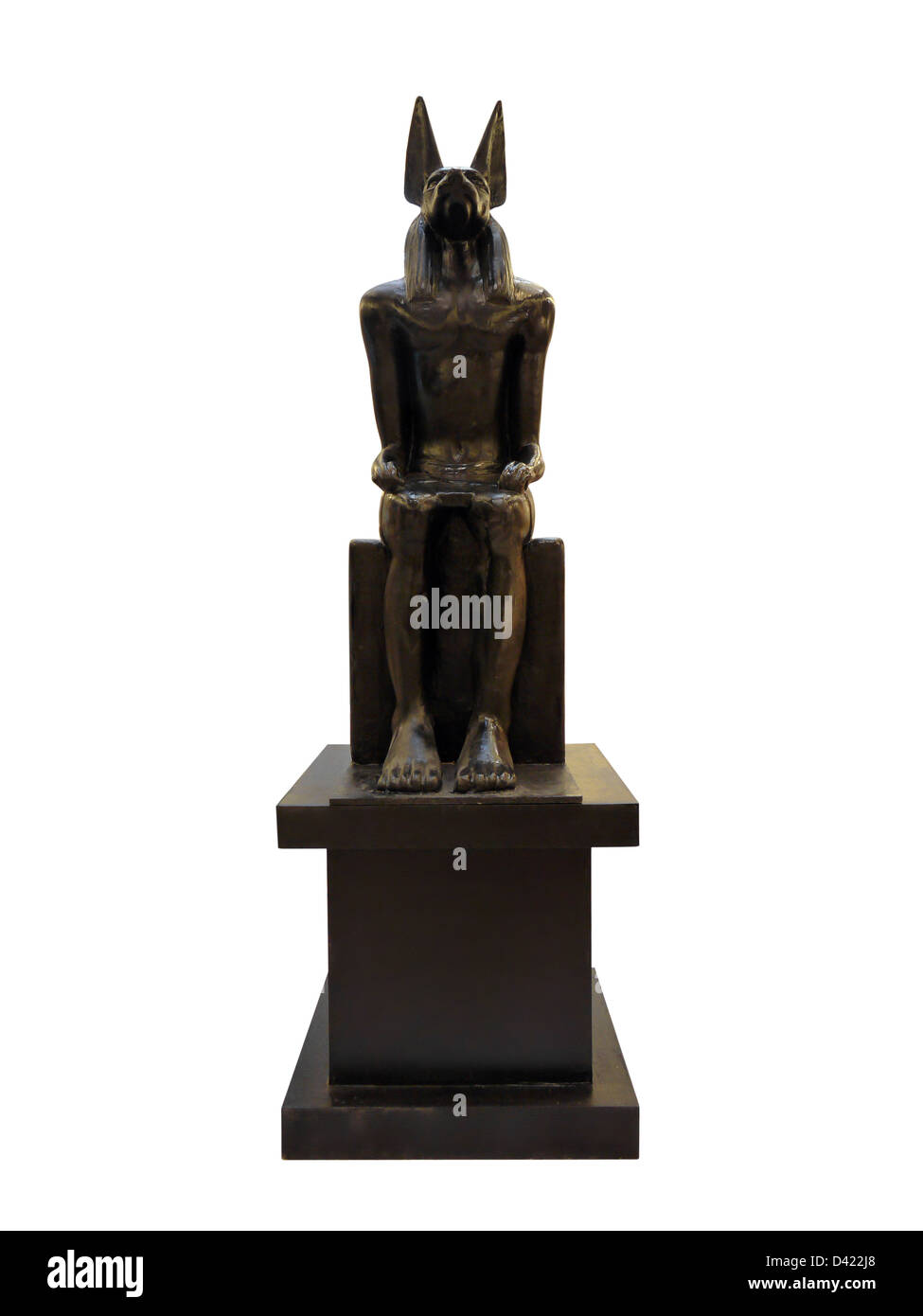 Statue of Anubis - ancient Egyptian god associated with death. Shot isolated on white - Stock Image