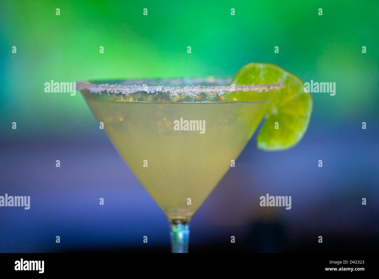 Enjoy an ice cold, delicious Margarita, with a perfectly salted rim. - Stock Image