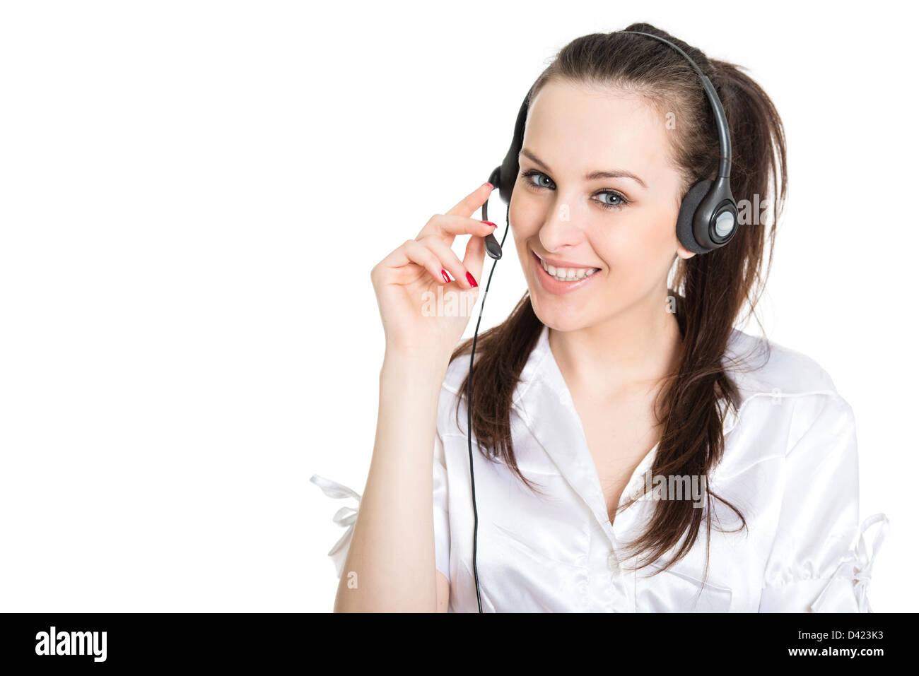 Portrait of happy smiling phone operator with headset, isolated on white background Stock Photo