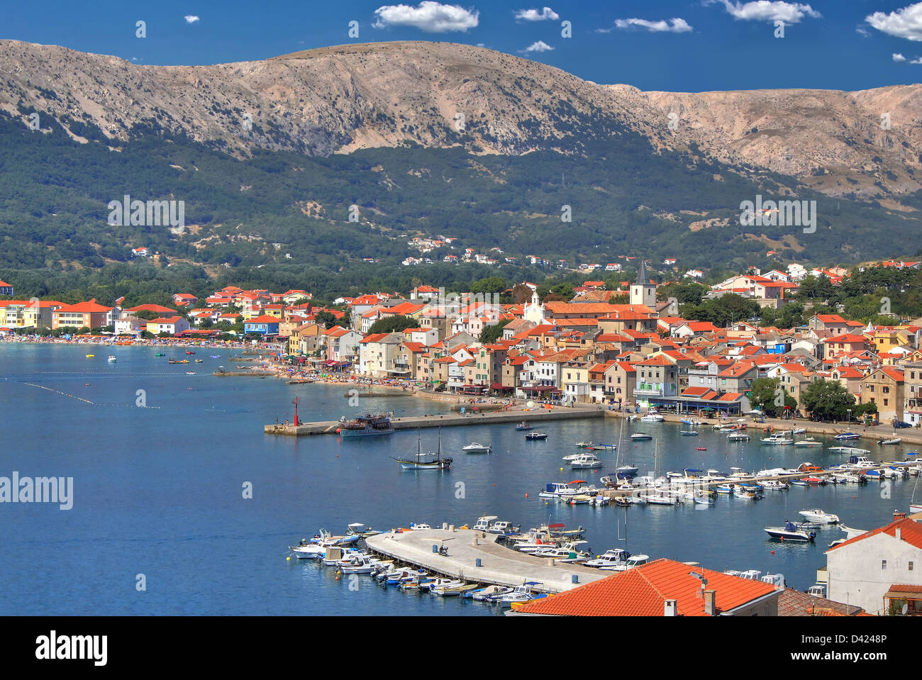 Town of Baska adriatic waterfront, Krk island, Croatia - Stock Image