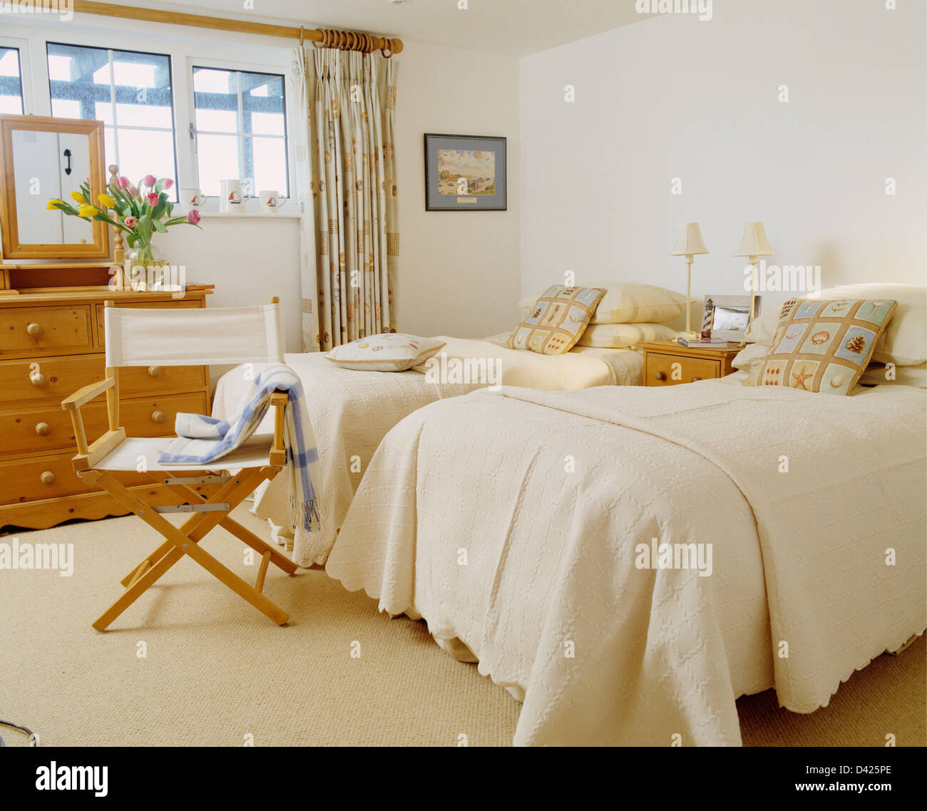 Magnificent White Directors Chair Beside Twin Beds With Cream Quilts Pdpeps Interior Chair Design Pdpepsorg