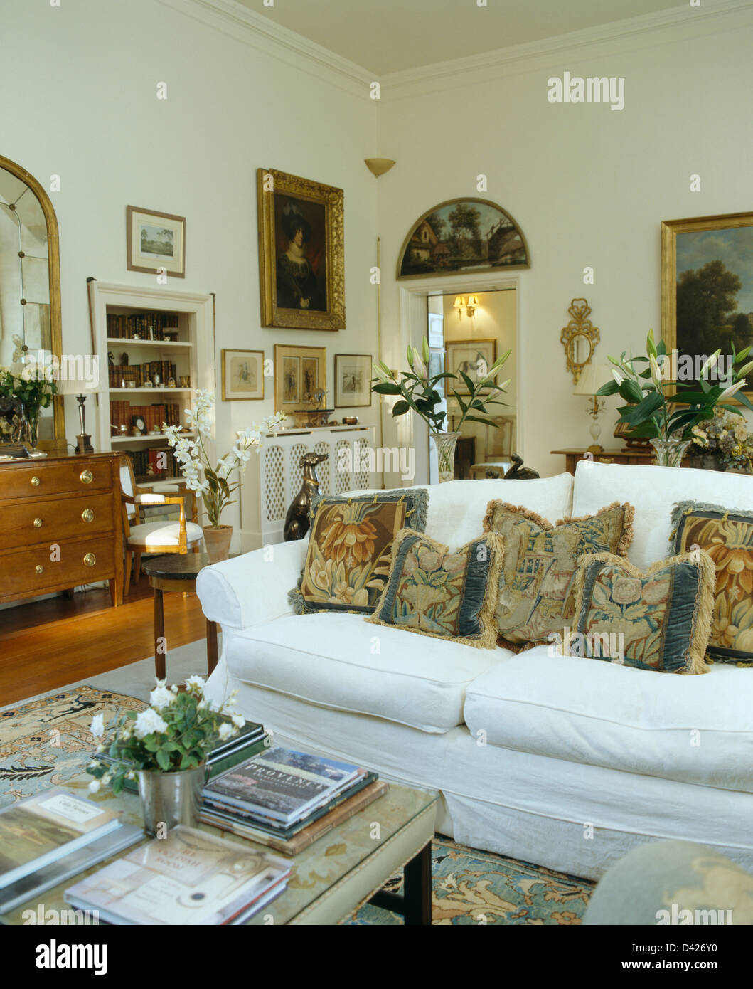 Pleasing Tapestry Cushions On Sofa With White Loose Cover In White Uwap Interior Chair Design Uwaporg