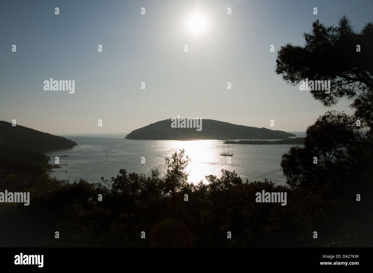 Heybeliada, Istanbul, Turkey, view of the neighboring island of Buyukada Heybeliada - Stock Image