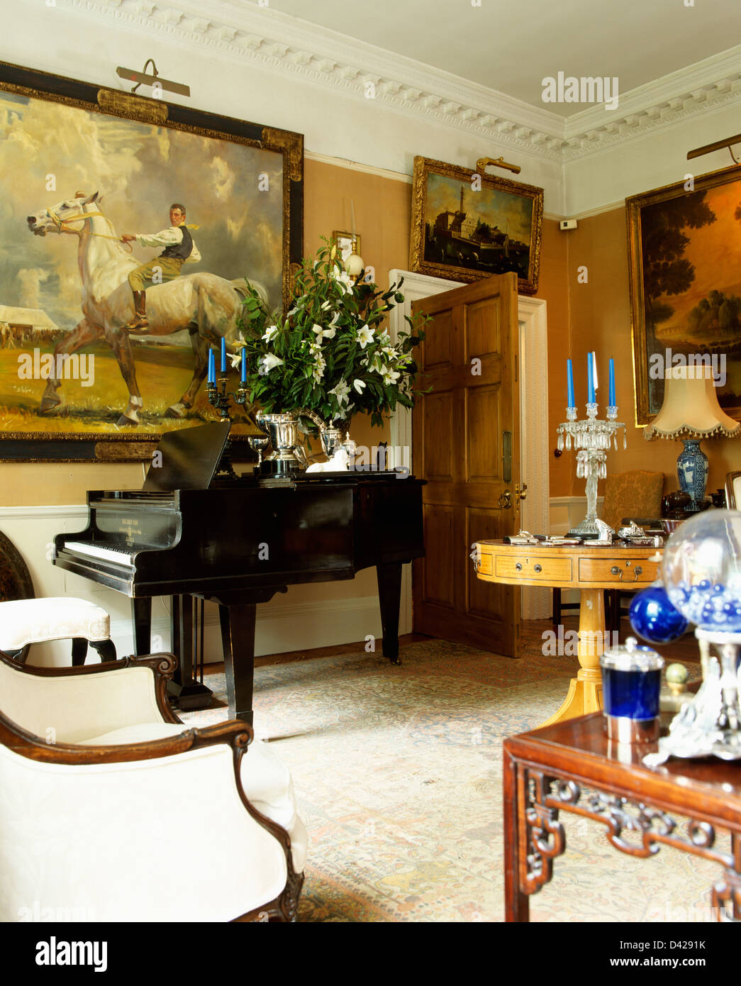 Exceptional Large Painting On Wall Above Grand Piano In Country Drawing Room With  Antique Furniture
