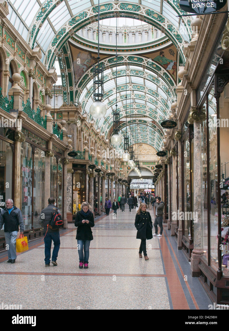 Shoppers walking through County Arcade Leeds, England UK - Stock Image