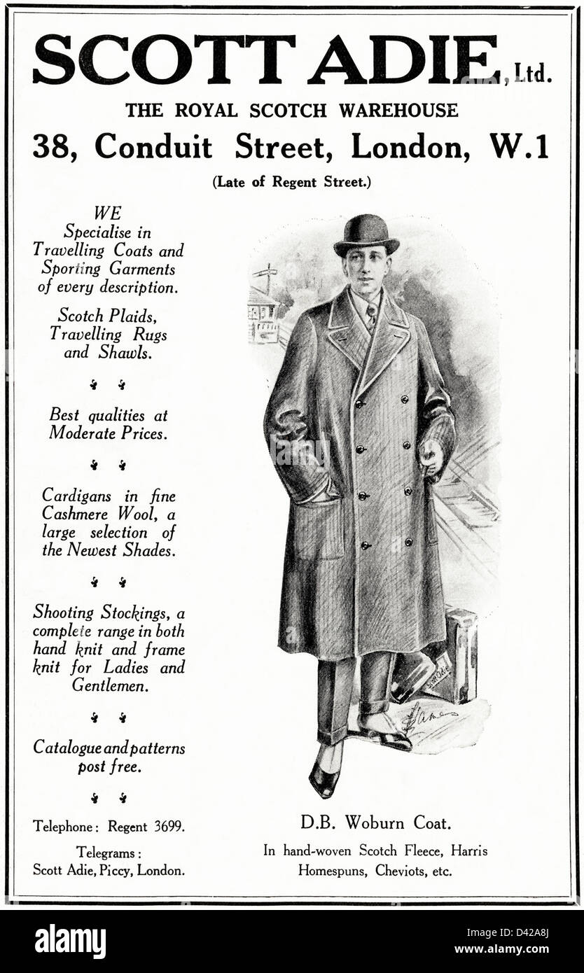 Original 1920s vintage print advertisement from English country gentleman's newspaper advertising sporting garments Stock Photo