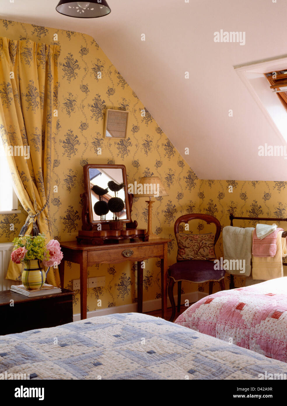 Floral Wallpaper And Matching Curtains In Cottage Attic