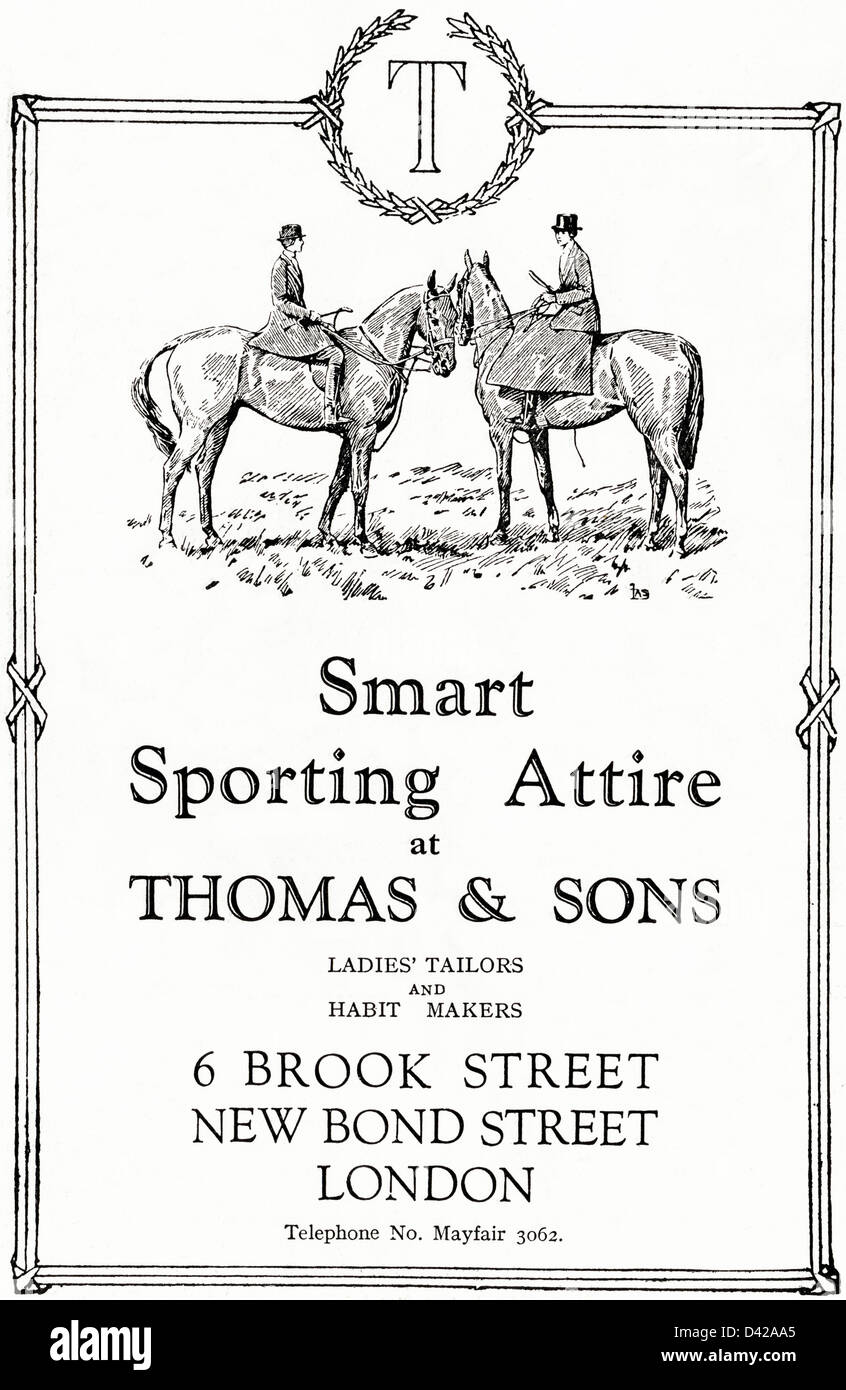Original 1920s vintage print advertisement from English country gentleman's newspaper advertising sporting attire Stock Photo