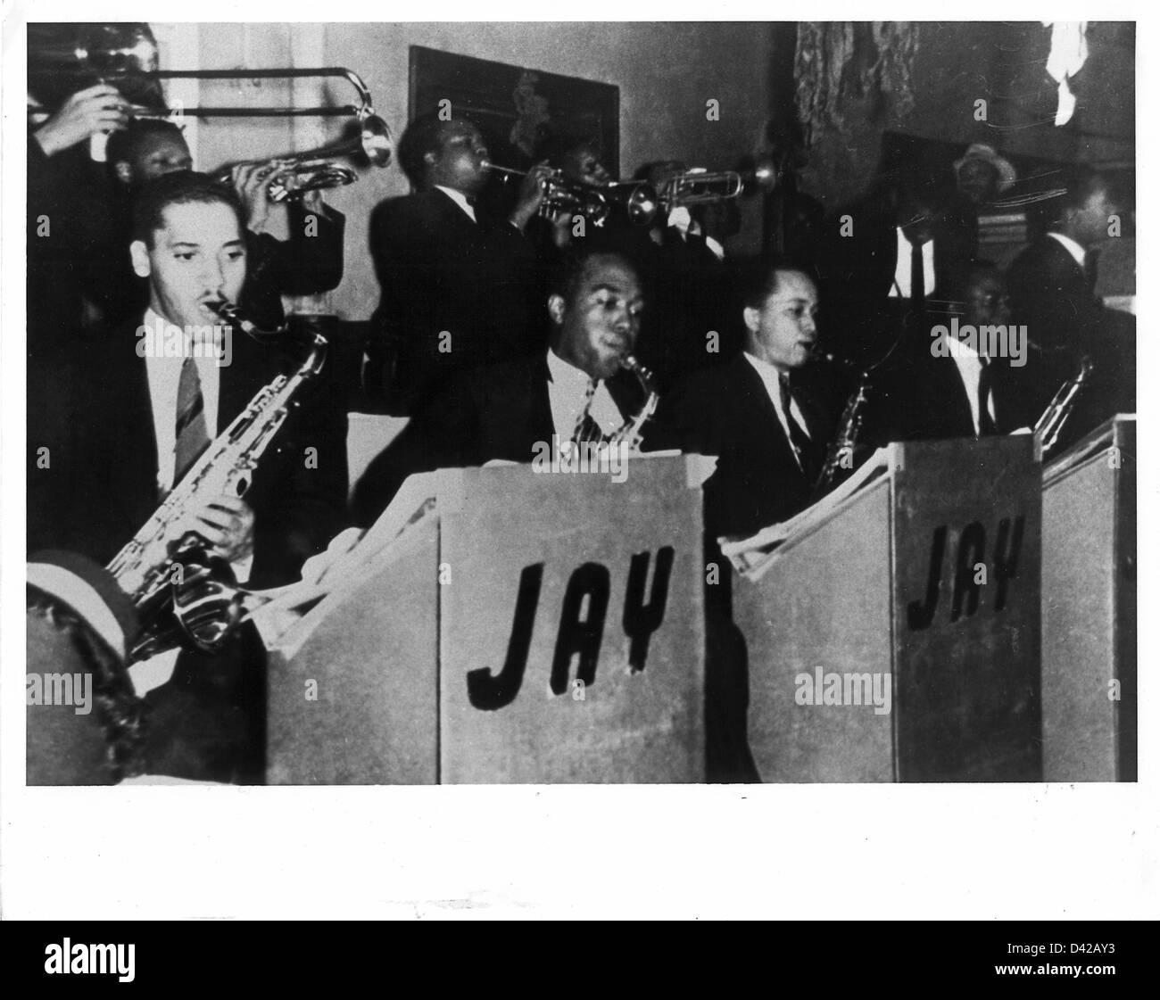 Jazz alto saxophonist Charlie Parkerm (second from left, front row) circa 1938 as a member of the Jay McShann Orchestra - Stock Image