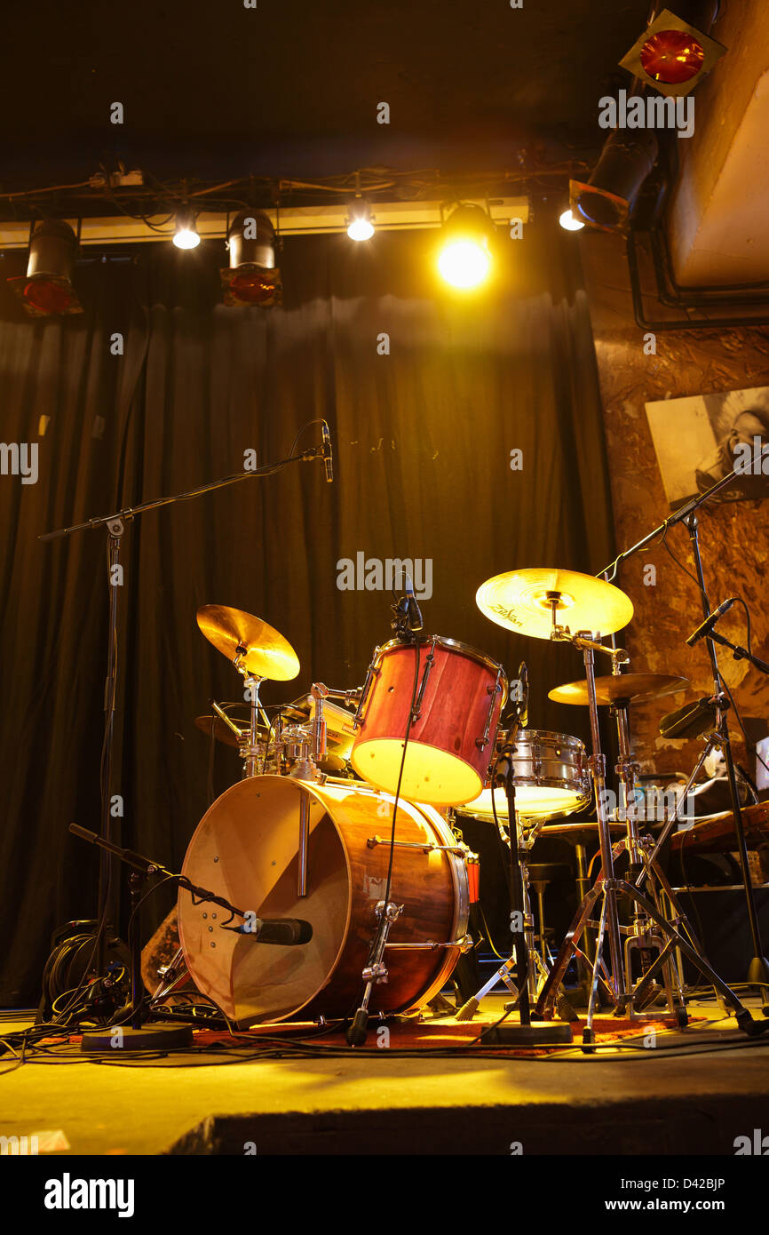 Berlin, Germany, drums on a Stage - Stock Image