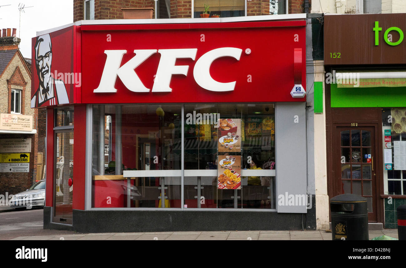 KFC chicken shop fried Kentucky fast food - Stock Image