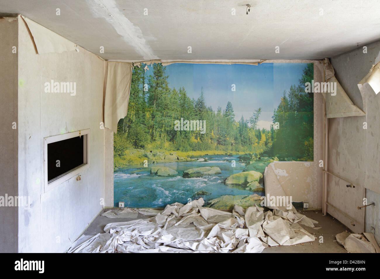 Gross Dölln, Germany, landscape design on a Mural - Stock Image