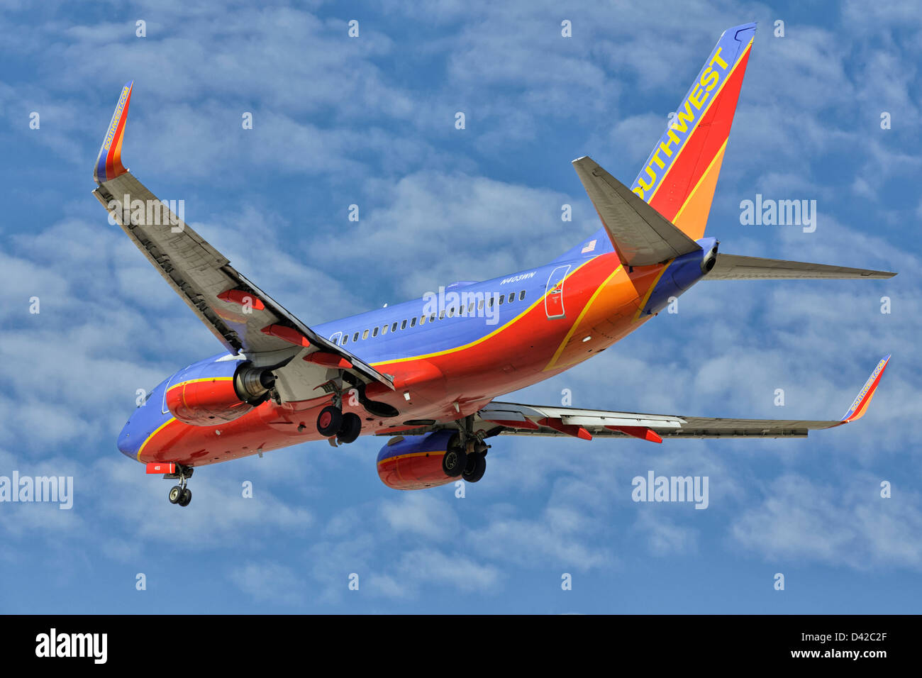 A Boeing 737 of Southwest airllines on final approach - Stock Image