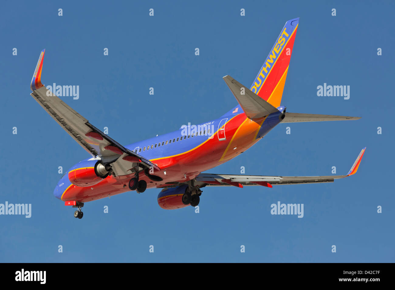 A Boeing 737 of Southwest airlines on final approach - Stock Image