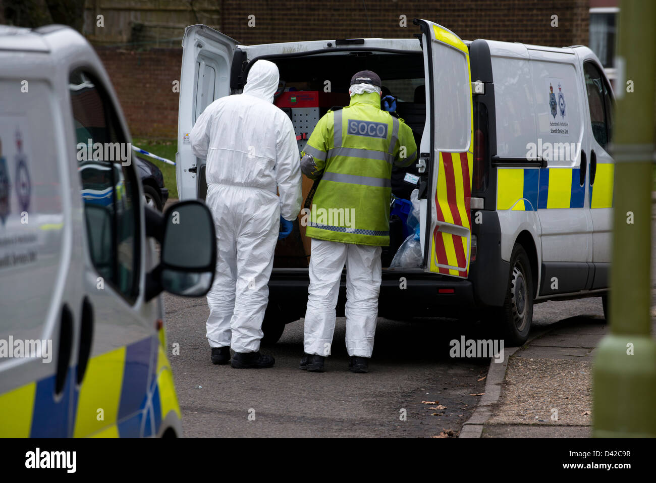 Crime Scene in Hemel Hempstead, Hertfordshire. A body of a man in his 60's was found in the burnt out home. - Stock Image