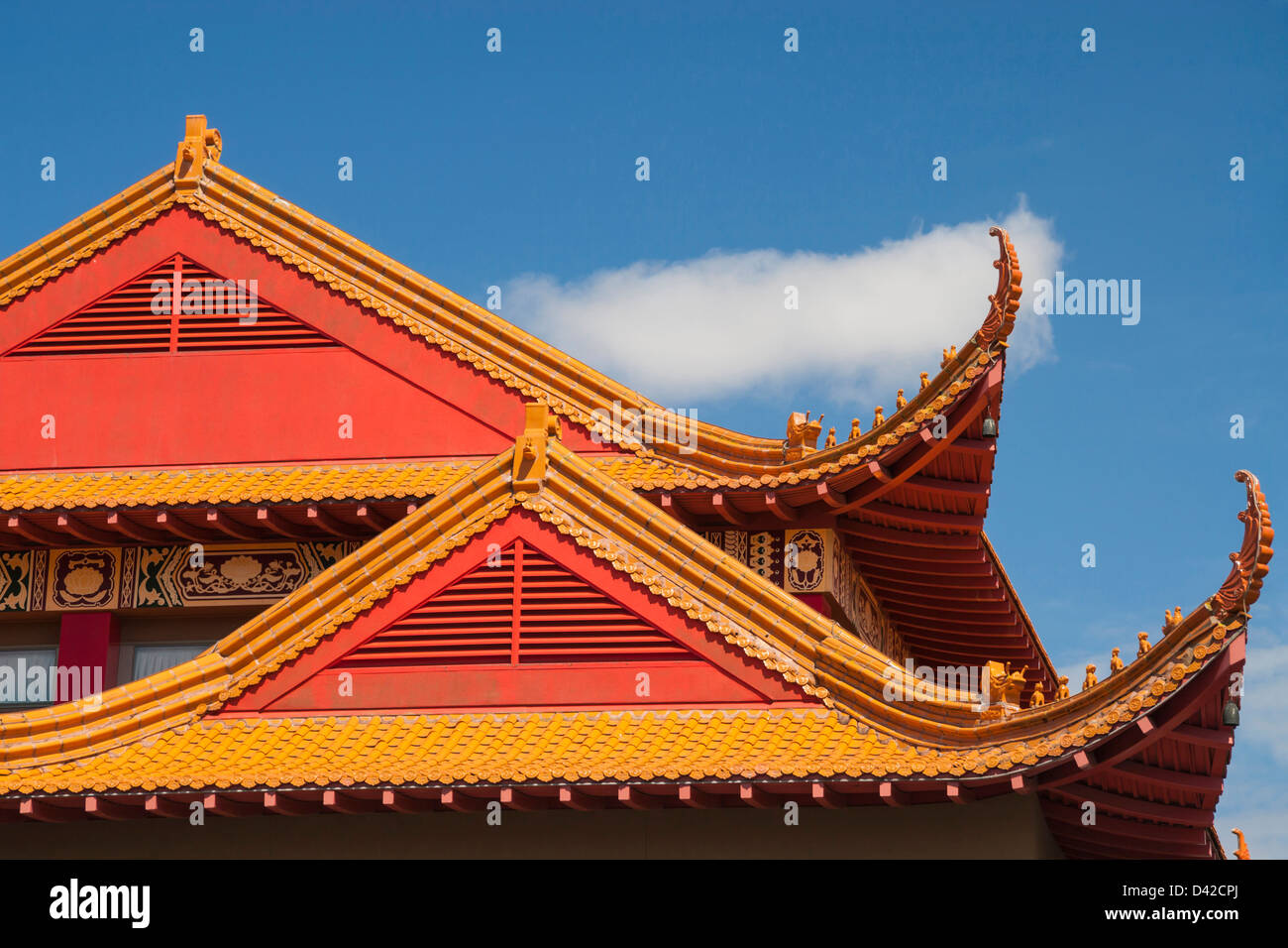 roof and architectural details of buddhist temple stock photo