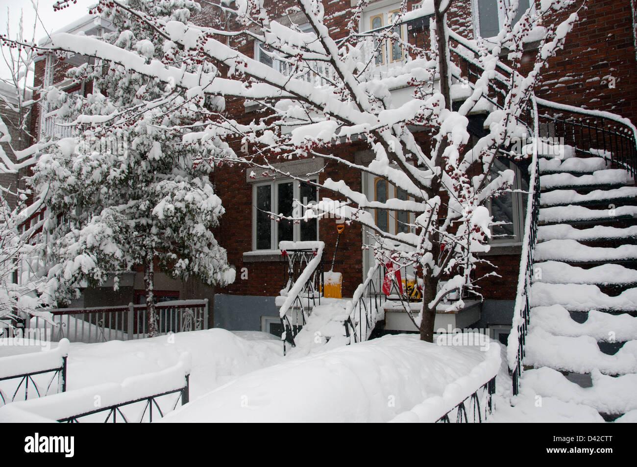 Villeray area Montreal, winter scene - Stock Image
