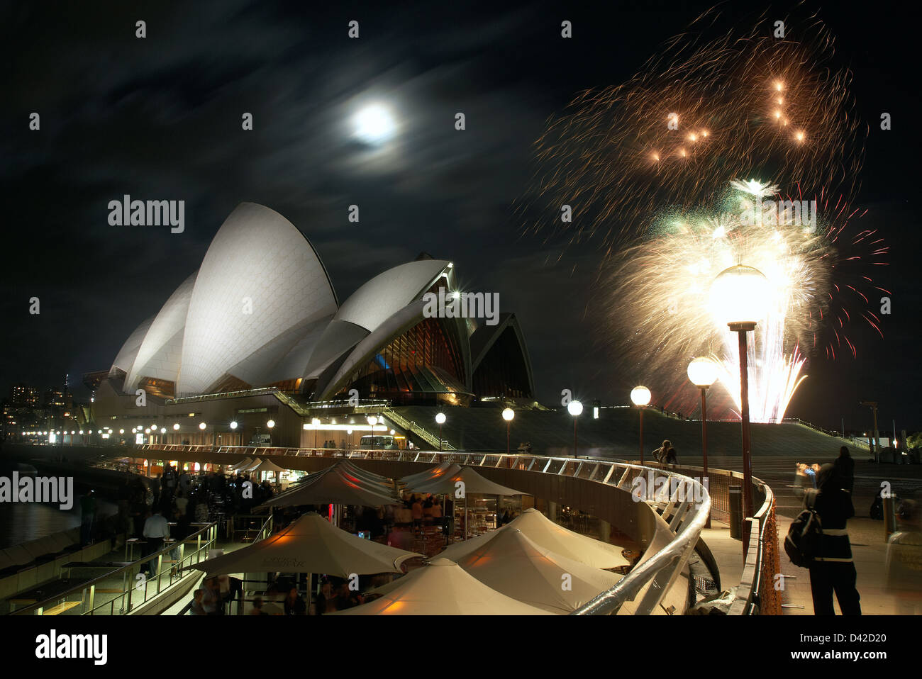 Sydney, Australia, fireworks over the Opera House on Bennelong Point - Stock Image