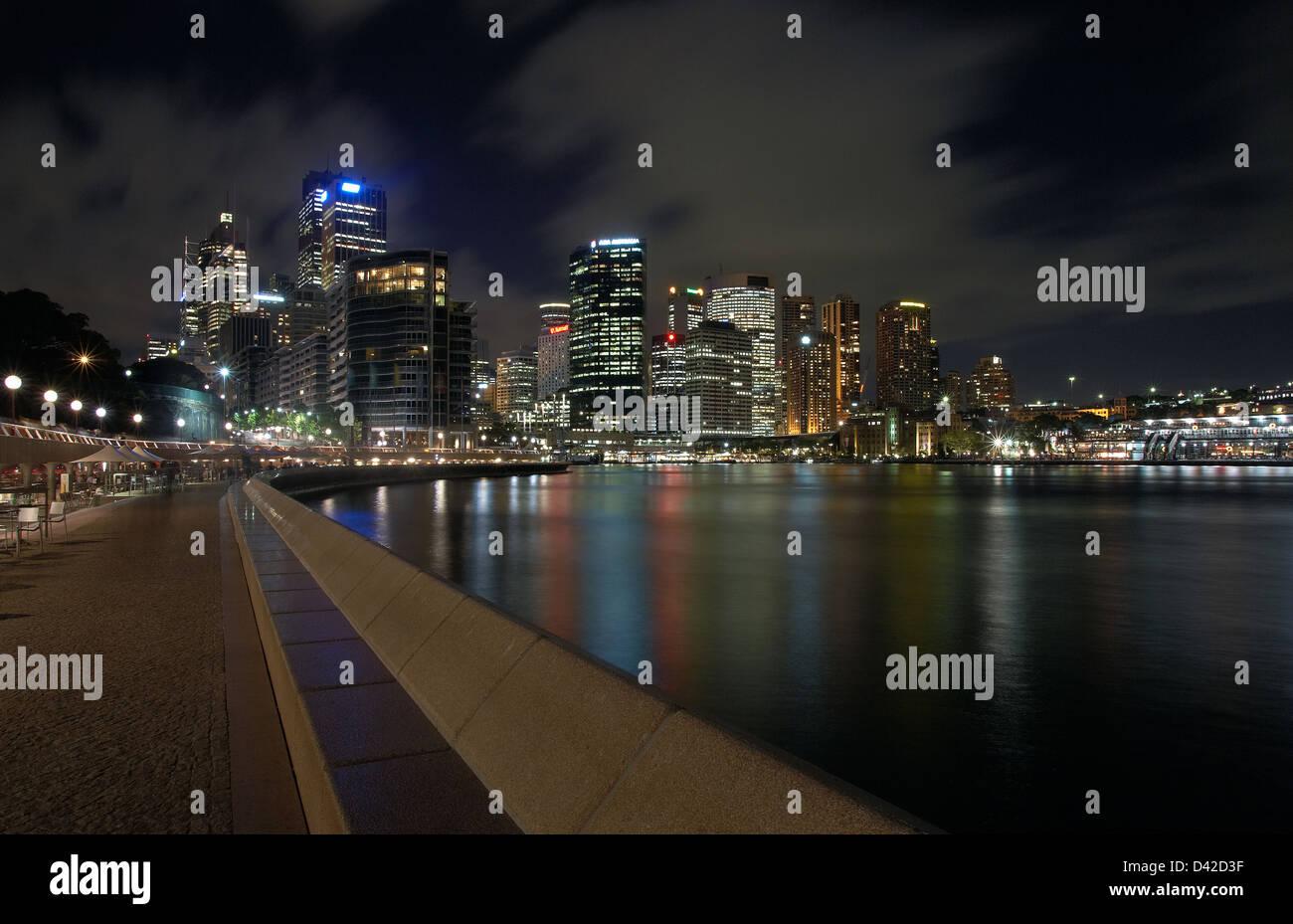 Sydney, Australia, the nocturnal skyline of Sydney and the Sydney Cove Bay - Stock Image