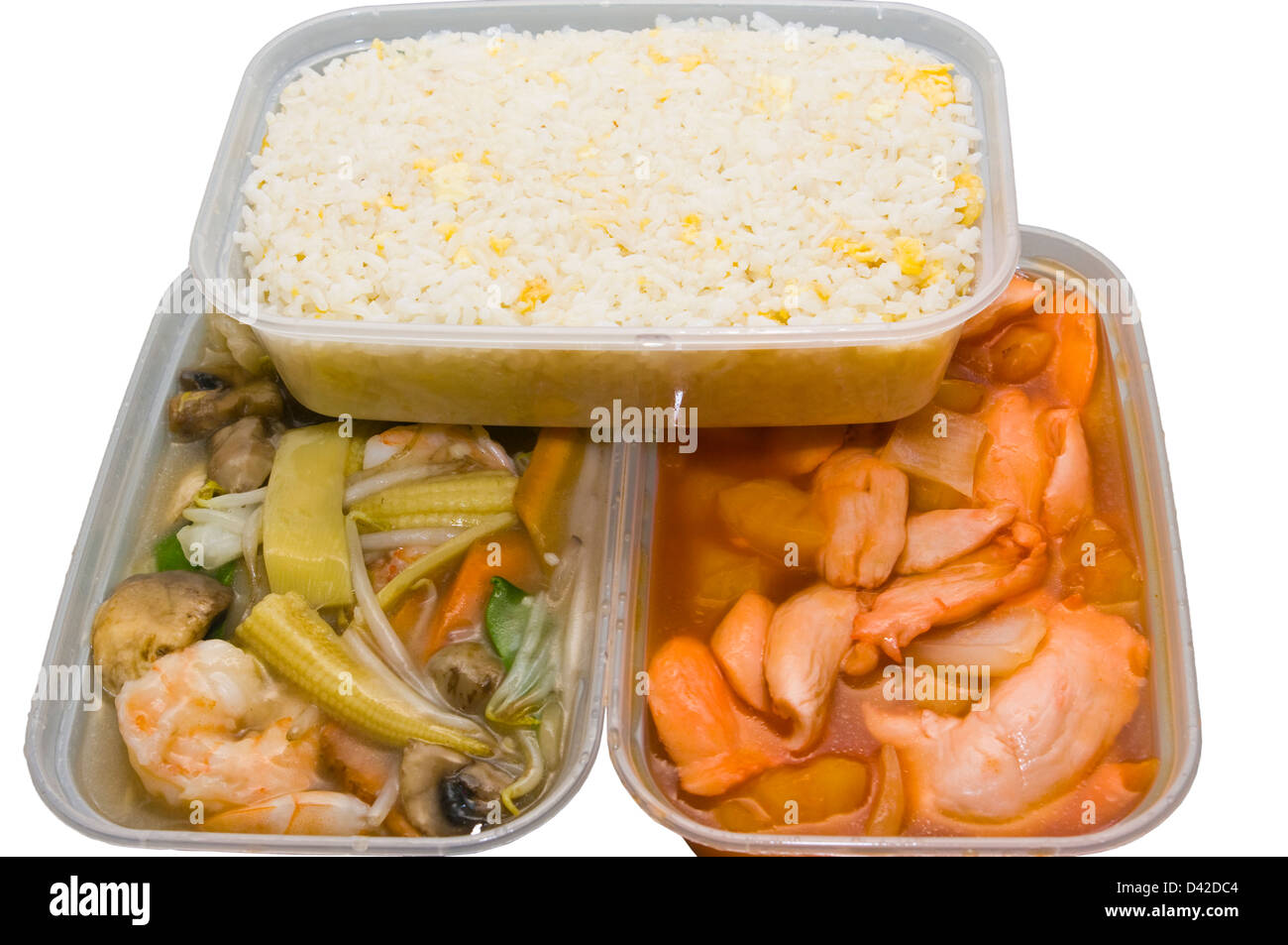 Chinese Take Away Food In Plastic Containers - Stock Image
