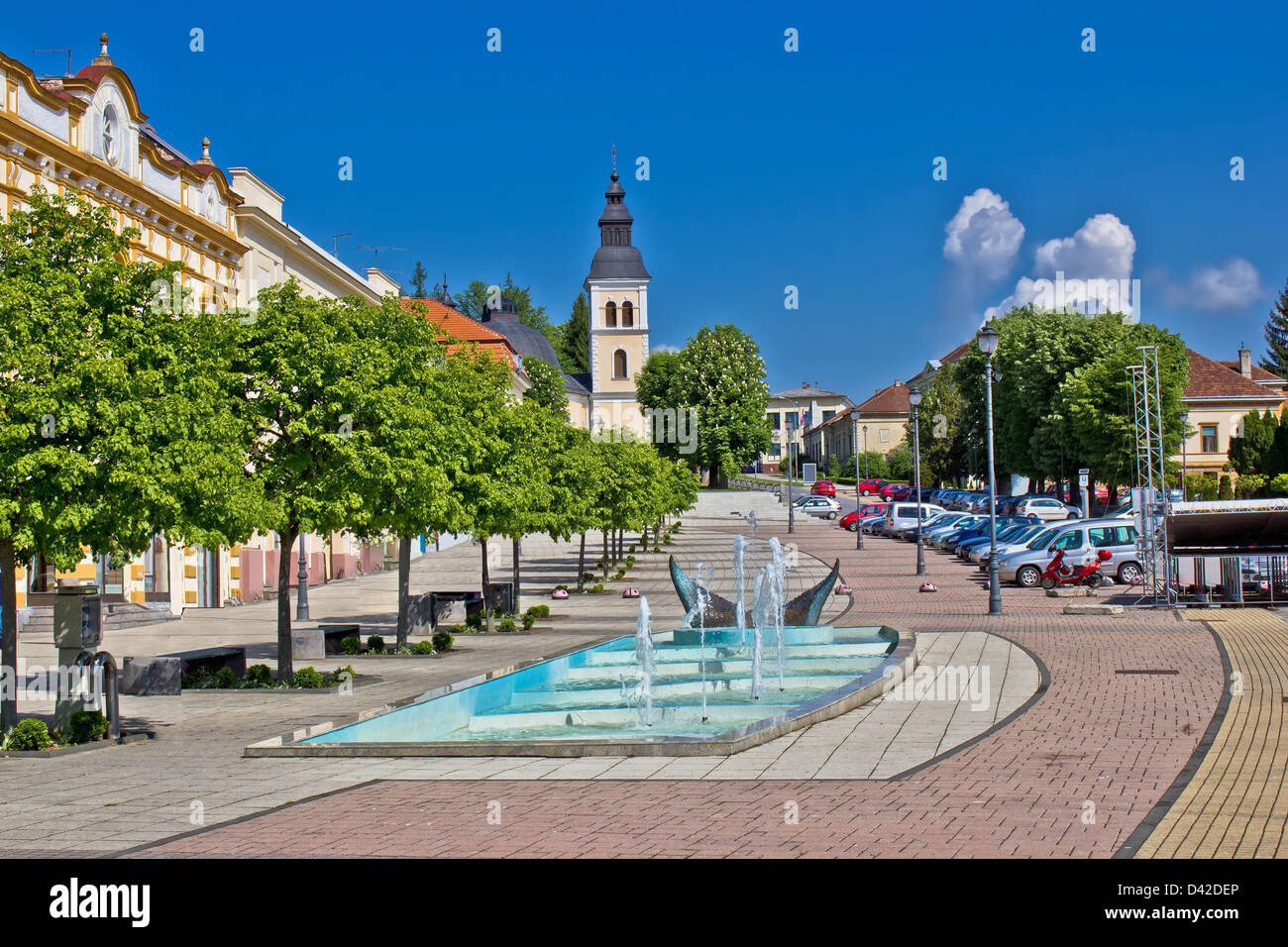 Town of Daruvar colorful main square, Croatia - Stock Image