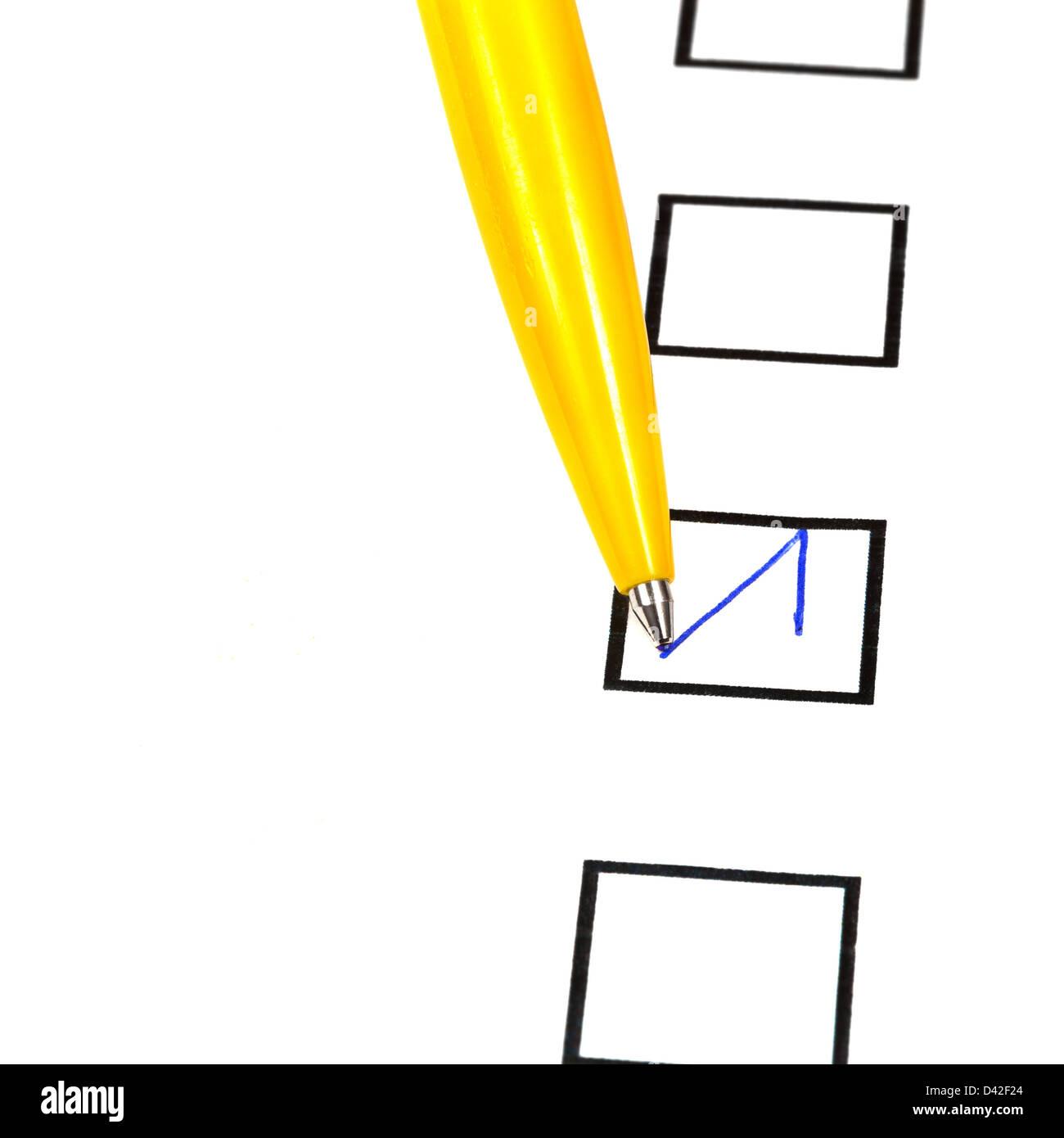 Tick In Black Square Box By Yellow Ballpoint Pen Stock Photo Diagram