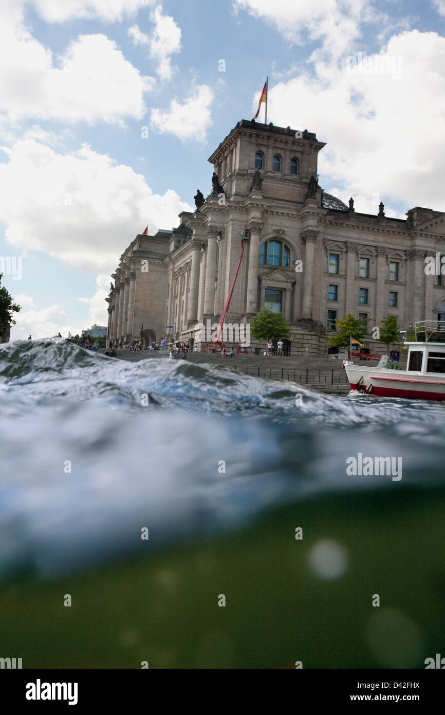 Berlin, Germany, the waves of the river Spree in the Reichstag Stock Photo