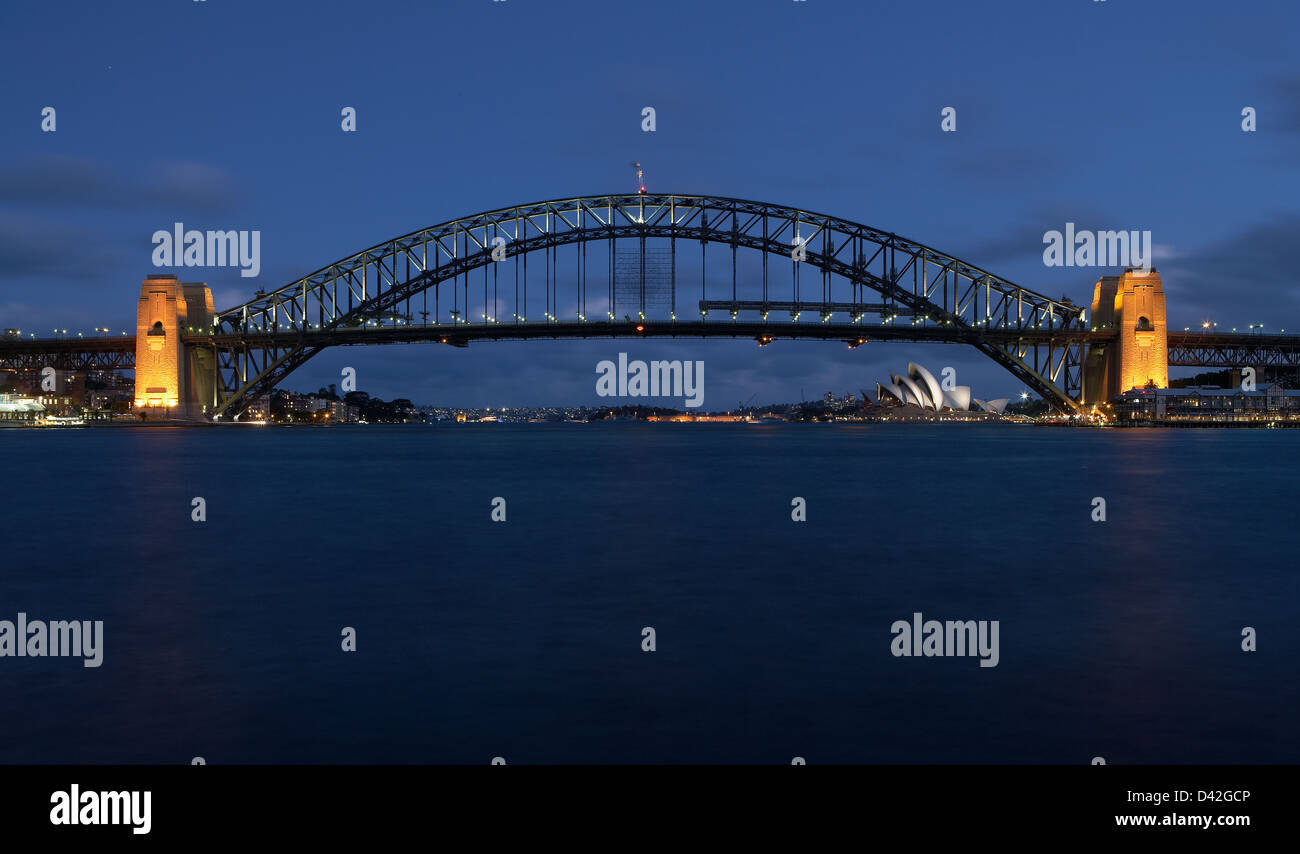 Sydney, Australia, a view over the bay of Port Jackson at night Stock Photo