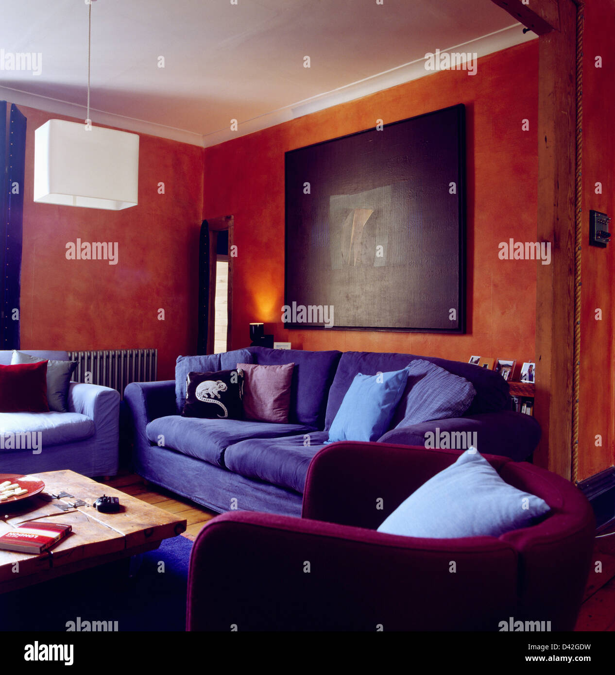 Cool Large Abstract Painting On Wall Above Blue Sofa In Interior Design Ideas Oxytryabchikinfo