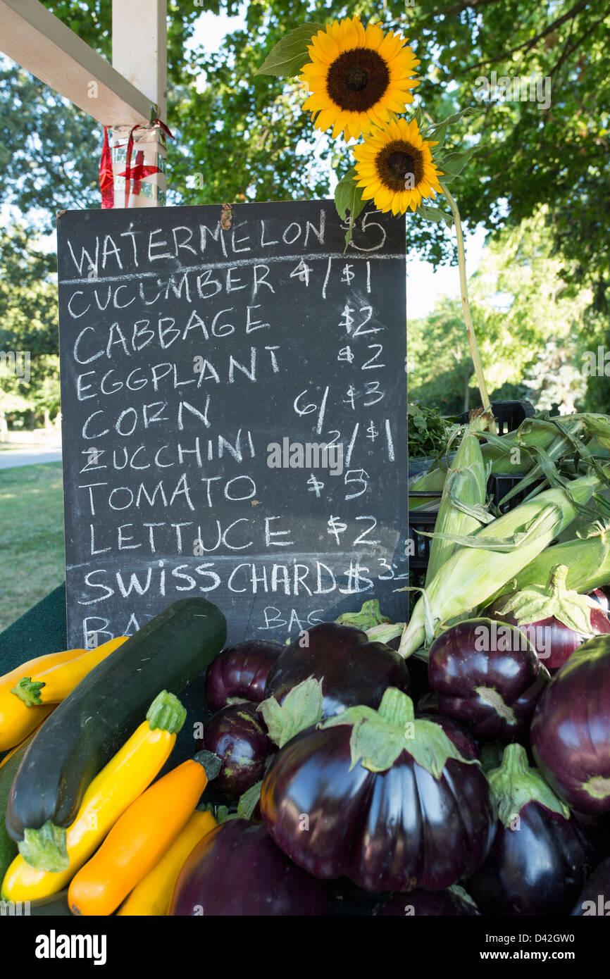 Canada,Ontario,Niagara-on-the-Lake,fresh fruit sign - Stock Image