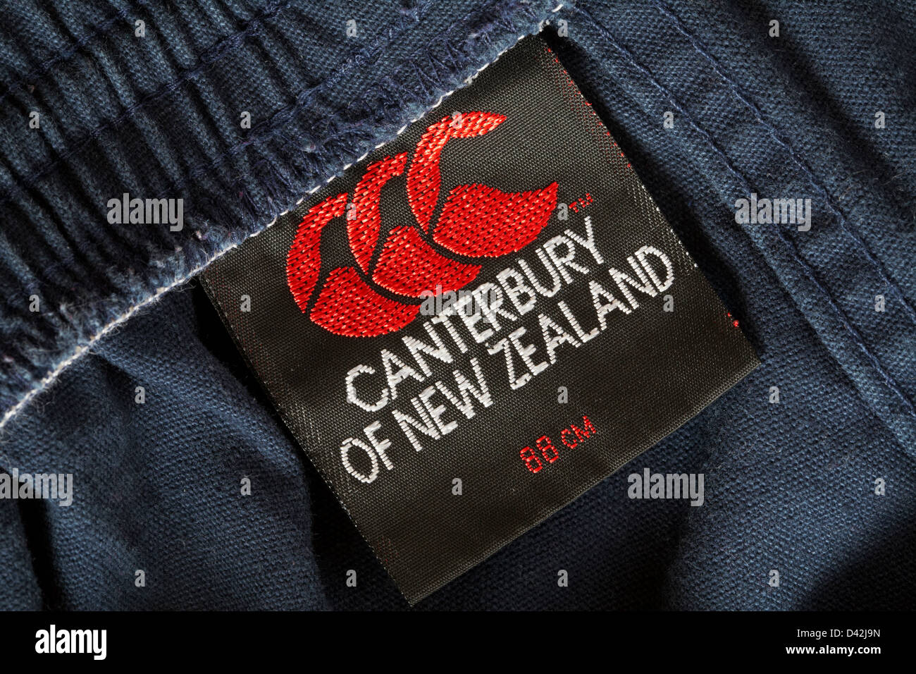 Canterbury of New Zealand label in trousers - Stock Image