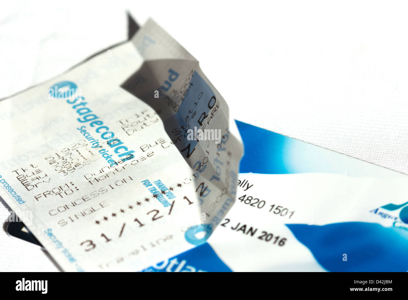 Bus ticket showing Zero fare cost and Bus pass for senior citizen Scotland UK - Stock Image