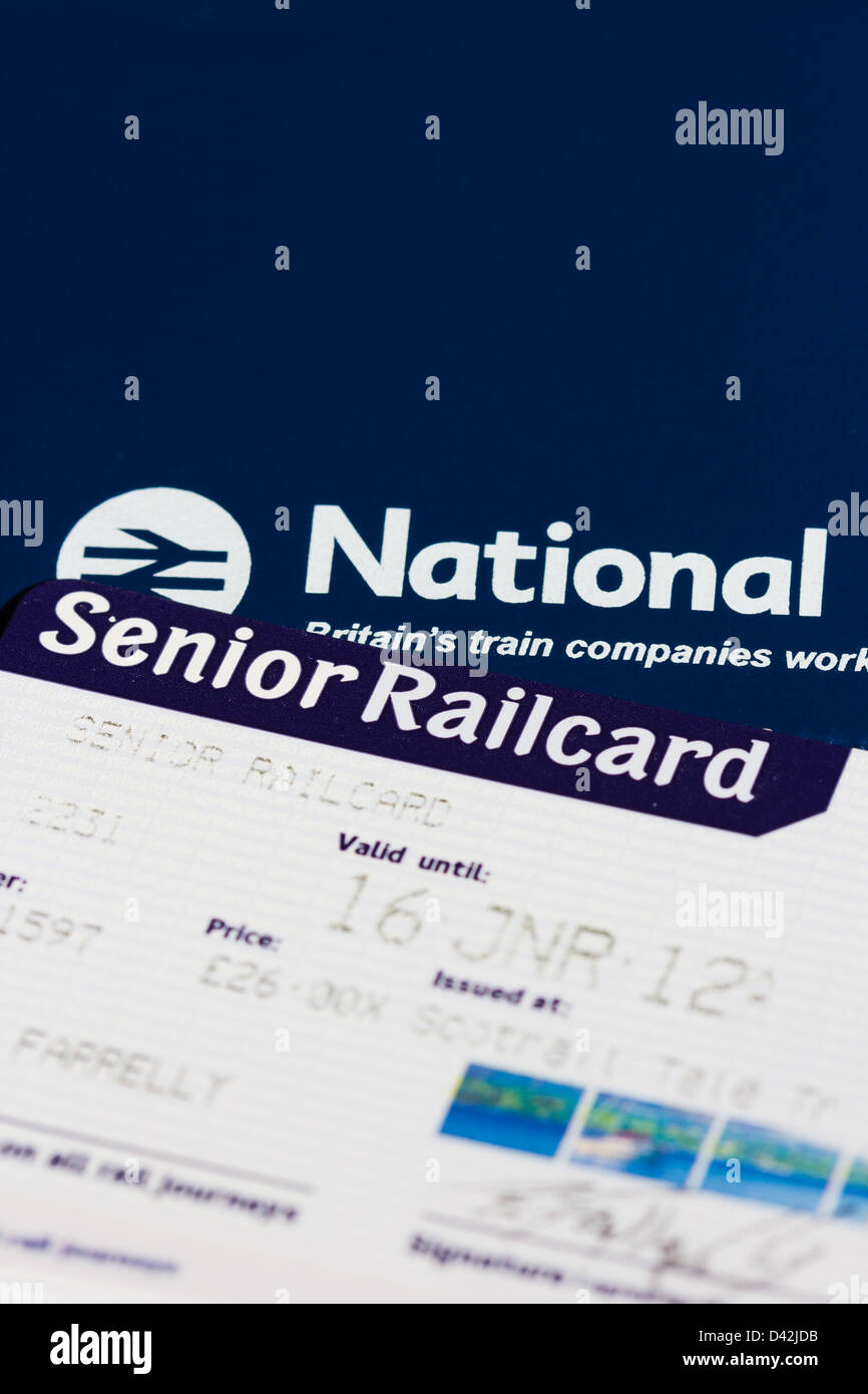 senior citizen railcards for British Rail customers. - Stock Image