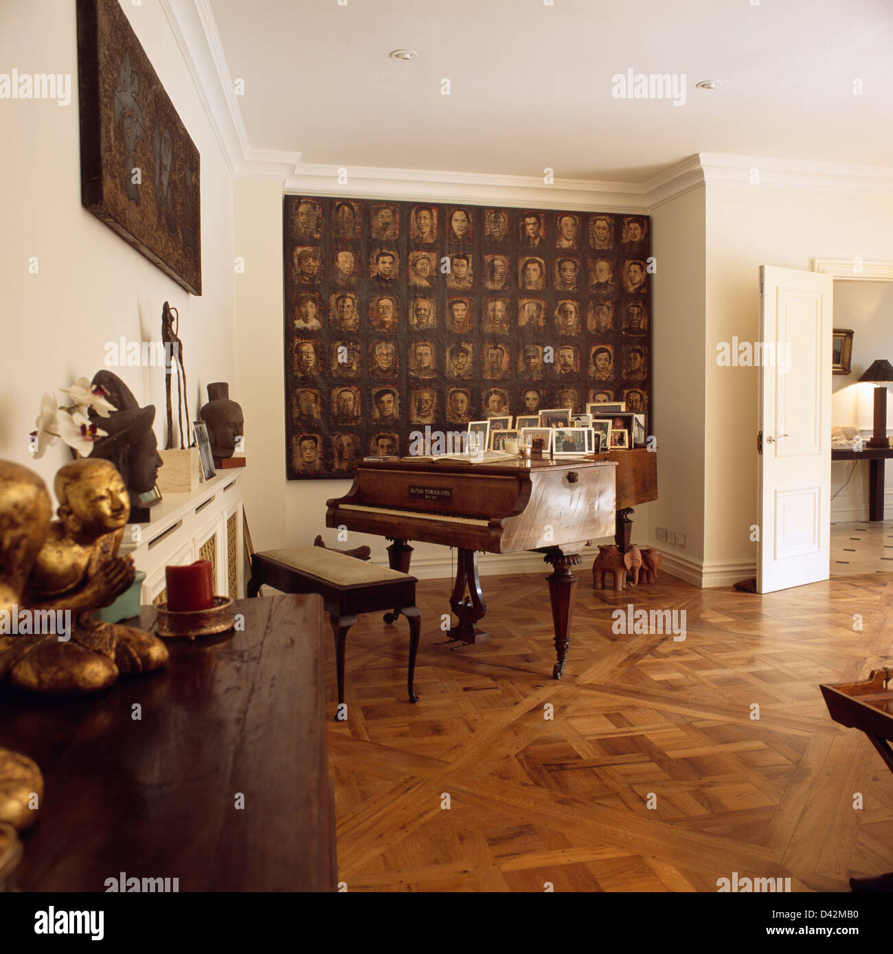 Large Painting On Wall Behind Grand Piano In Townhouse Living Room With  Parquet Flooring