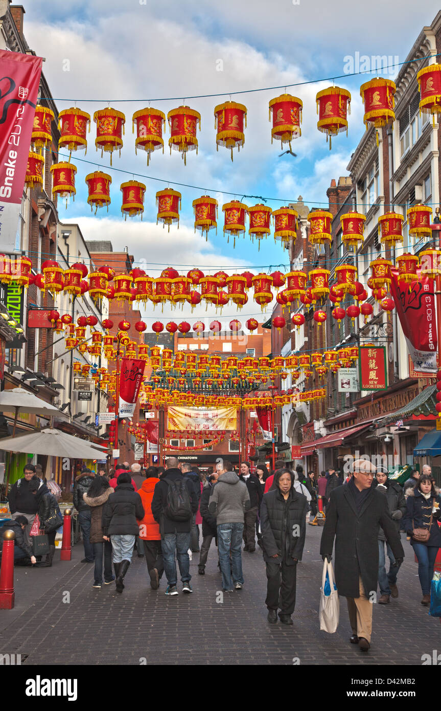 Chinese New Year in Gerrard Street in Chinatown, London. - Stock Image