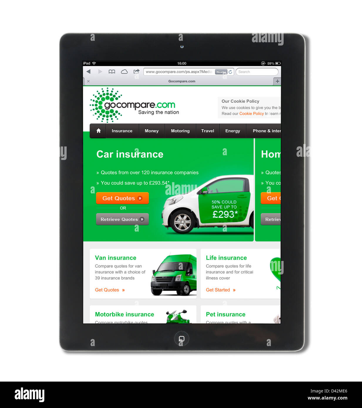 The insurance comparison website gocompare.com.com viewed on an iPad 4, UK - Stock Image