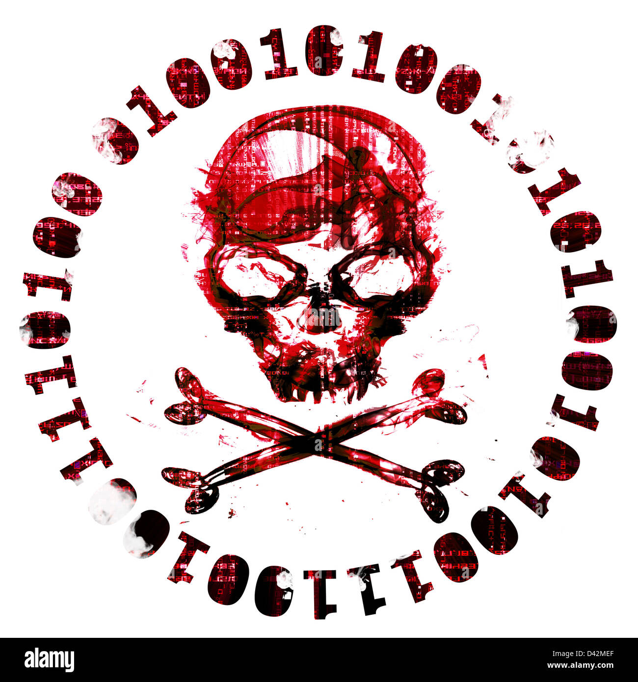 isolated hacker icon with skull - Stock Image