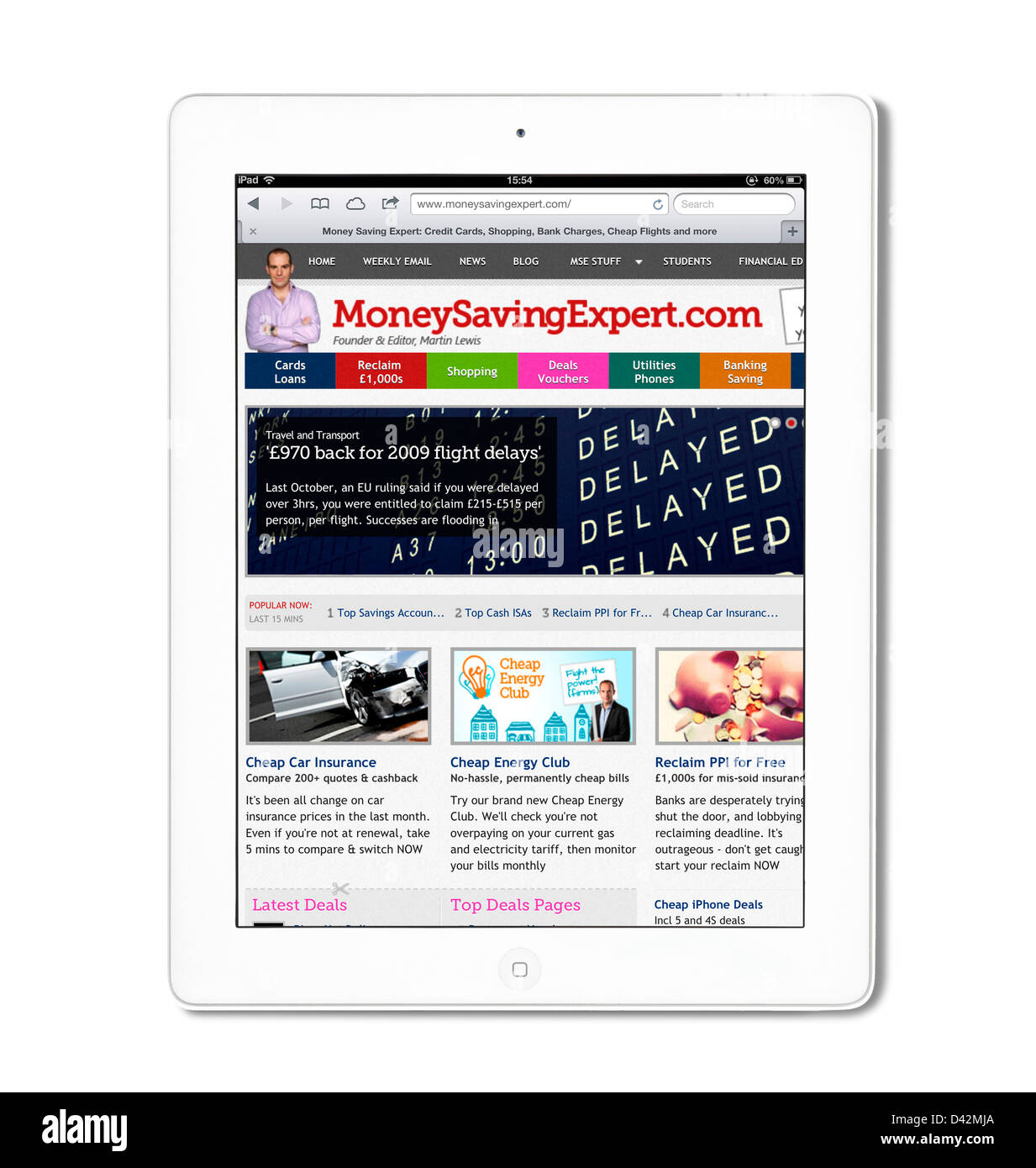 The personal finance site MoneySavingExpert.com viewed on an iPad 4, UK - Stock Image