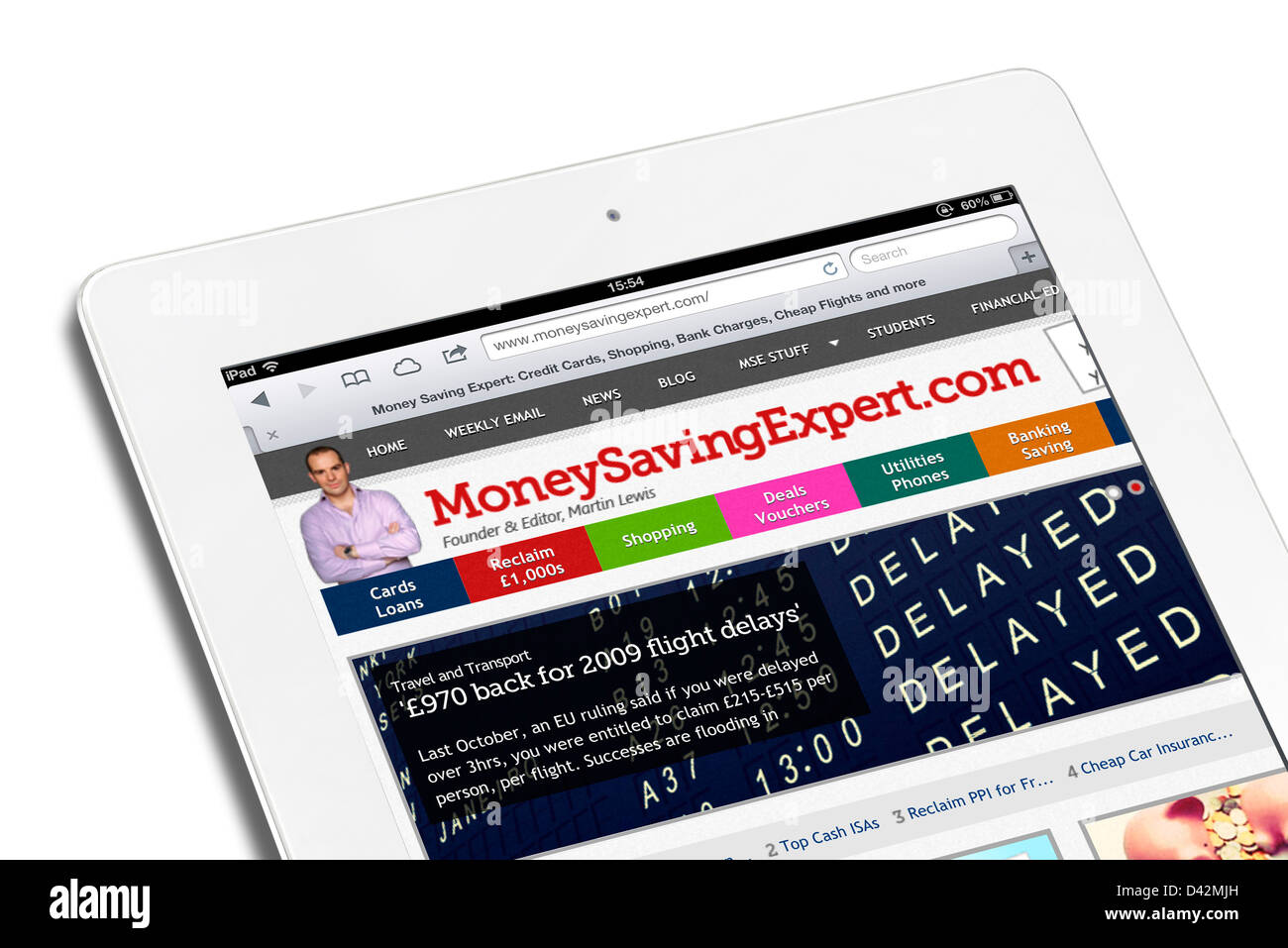 The personal finance site MoneySavingExpert.com viewed on an iPad 4, UK - Stock Image