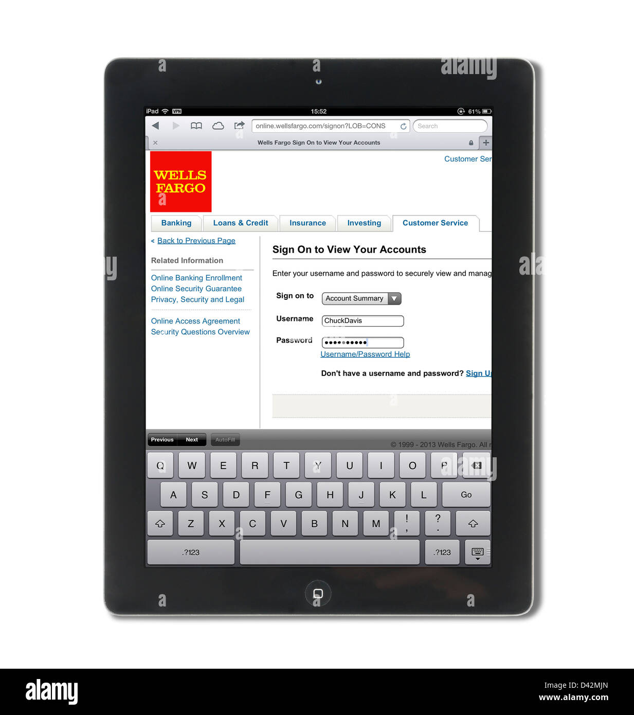 Logging on to a Wells Fargo bank account on an iPad 4, USA Stock