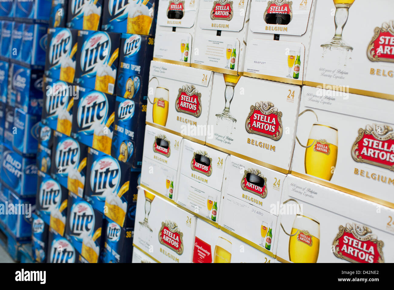 Stella Artois and Miller Lite beer on display at a Costco Wholesale Warehouse Club. - Stock Image