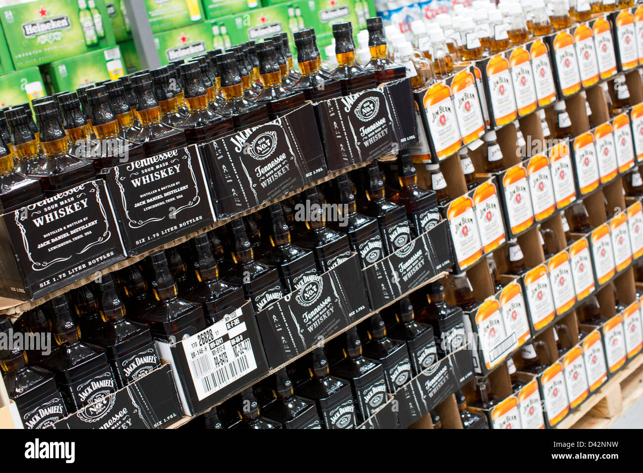 Jack Daniel's whiskey on display at a Costco Wholesale Warehouse Club. Stock Photo