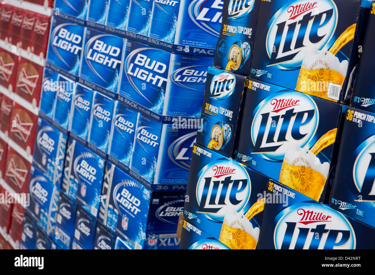 Perfect Budweiser, Bud Light And Miller Lite Beer On Display At A Costco Wholesale  Warehouse Club Images