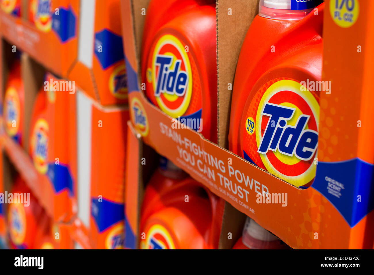 Tide laundry detergent on display at a Costco Wholesale Warehouse Club. - Stock Image