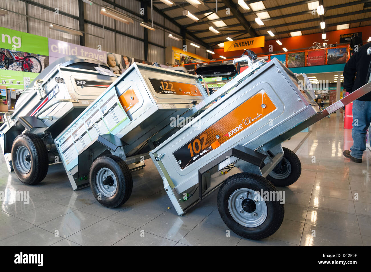 New trailers for sale in a Halfords shop, Hereford, UK. Stock Photo