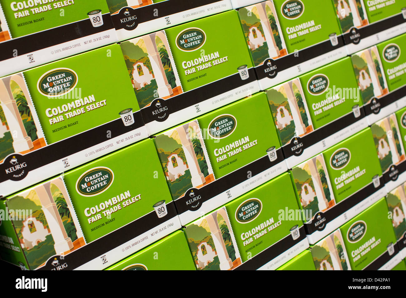 Green Mountain Coffee k-cups on display at a Costco Wholesale Warehouse Club. - Stock Image